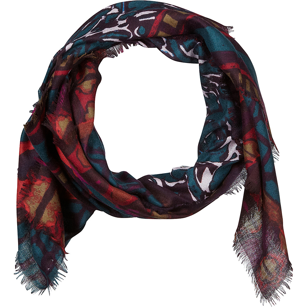 Kinross Cashmere Patchwork Print Scarf Wild Violet Multi - Kinross Cashmere Hats/Gloves/Scarves - Fashion Accessories, Hats/Gloves/Scarves