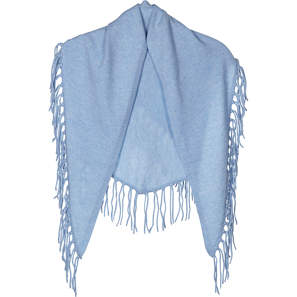 Kinross Cashmere Fringe Triangle Scarf Ice Blue - Kinross Cashmere Hats/Gloves/Scarves - Fashion Accessories, Hats/Gloves/Scarves