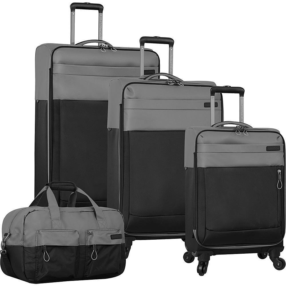 Nautica Harpswell 4 Piece Set Grey Black Nautica Luggage Sets