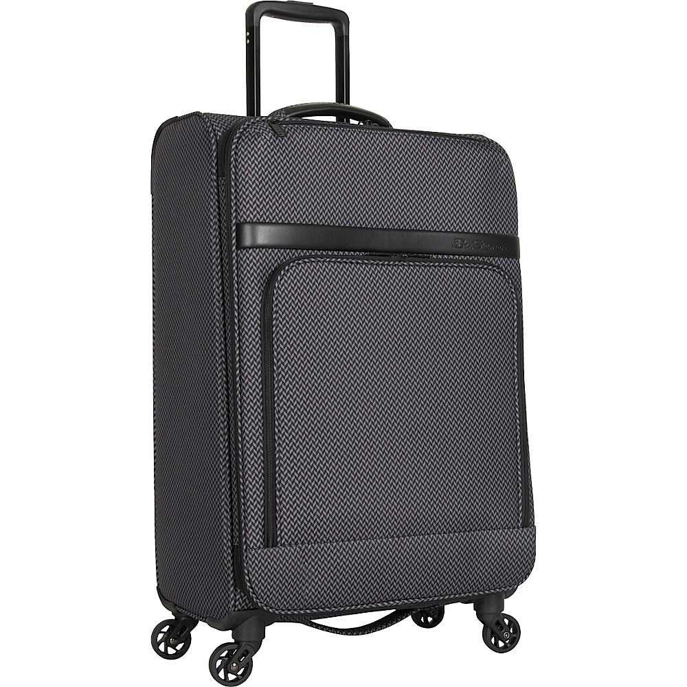 Ben Sherman Luggage York Collection 24 Upright Luggage Black Grey Herringbone Ben Sherman Luggage Softside Checked