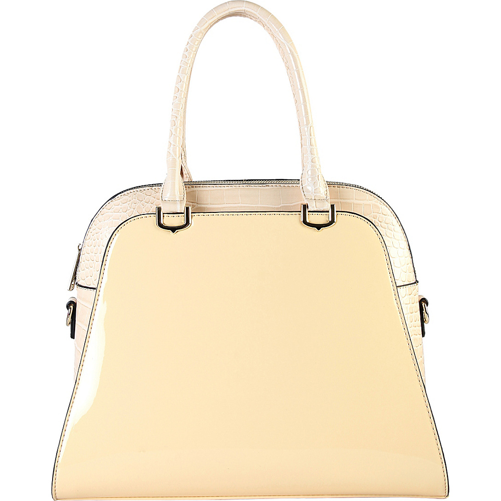 Diophy Women s Yellow Faux Leather Patent Tote Handbag Beige Diophy Manmade Handbags