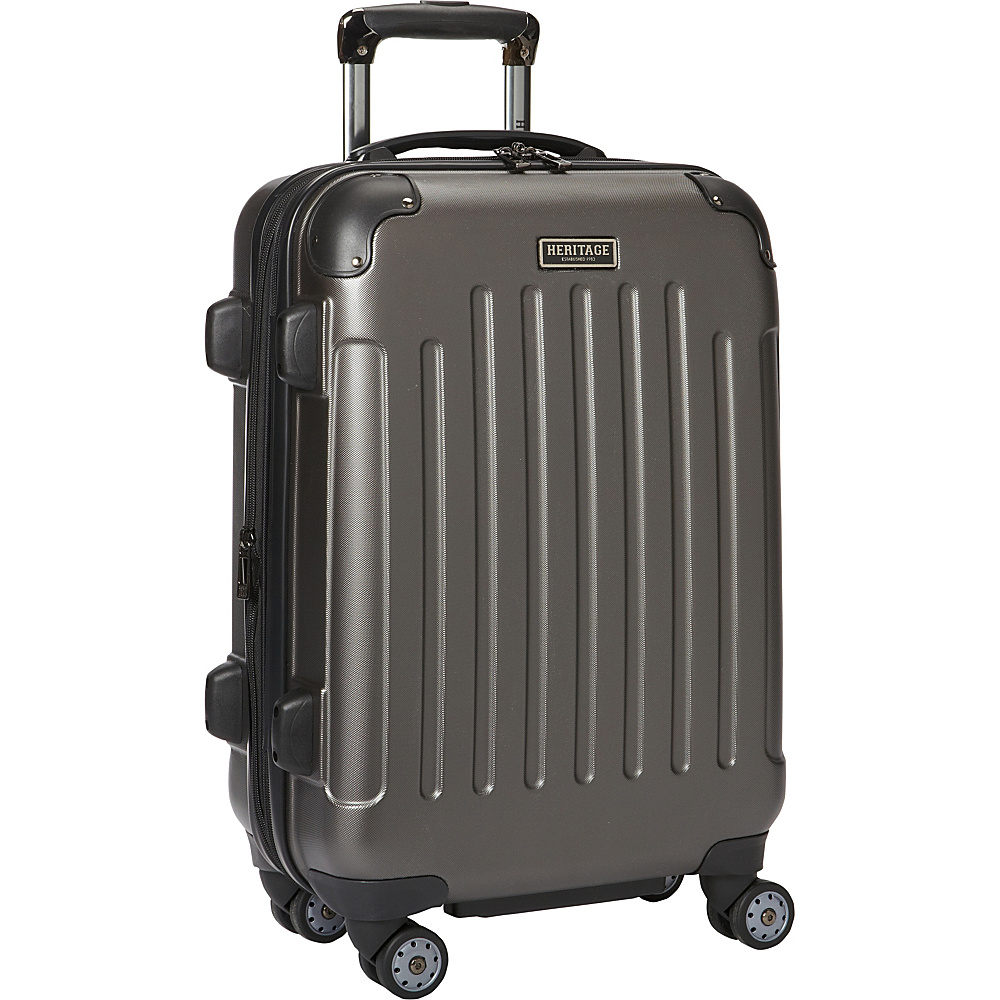 Heritage Logan Square Collection 20 Expandable 8 Wheel Carry On Luggage Charcoal Heritage Hardside Carry On