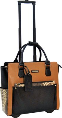 Cabrelli Calista Clutch 15 inch Laptop Rollerbrief Cognac/Black - Cabrelli Wheeled Business Cases