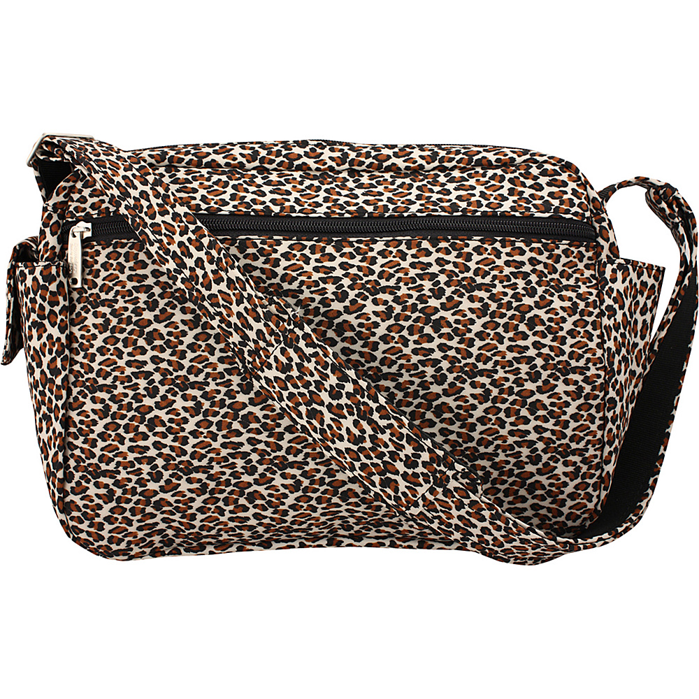 BeSafe by DayMakers Anti Theft 9 Pocket Traveler Messenger Leopard BeSafe by DayMakers Fabric Handbags