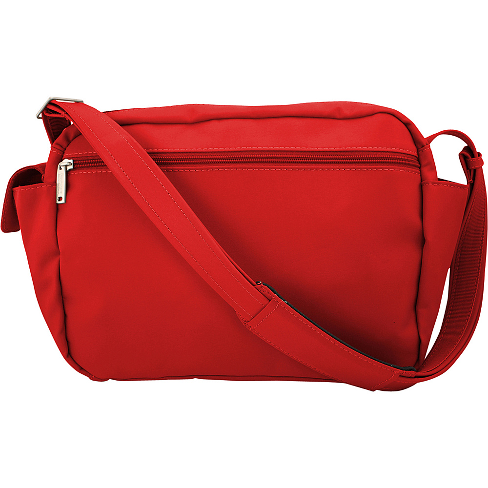 BeSafe by DayMakers Anti Theft 9 Pocket Traveler Messenger Red BeSafe by DayMakers Fabric Handbags