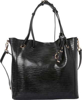 La Diva Carter Snake Tote Black - La Diva Manmade Handbags