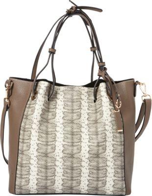 La Diva Carter Snake Tote Taupe - La Diva Manmade Handbags