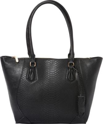 La Diva Sophia Two-Tone Snake Tote Black Snake/Black - La Diva Manmade Handbags