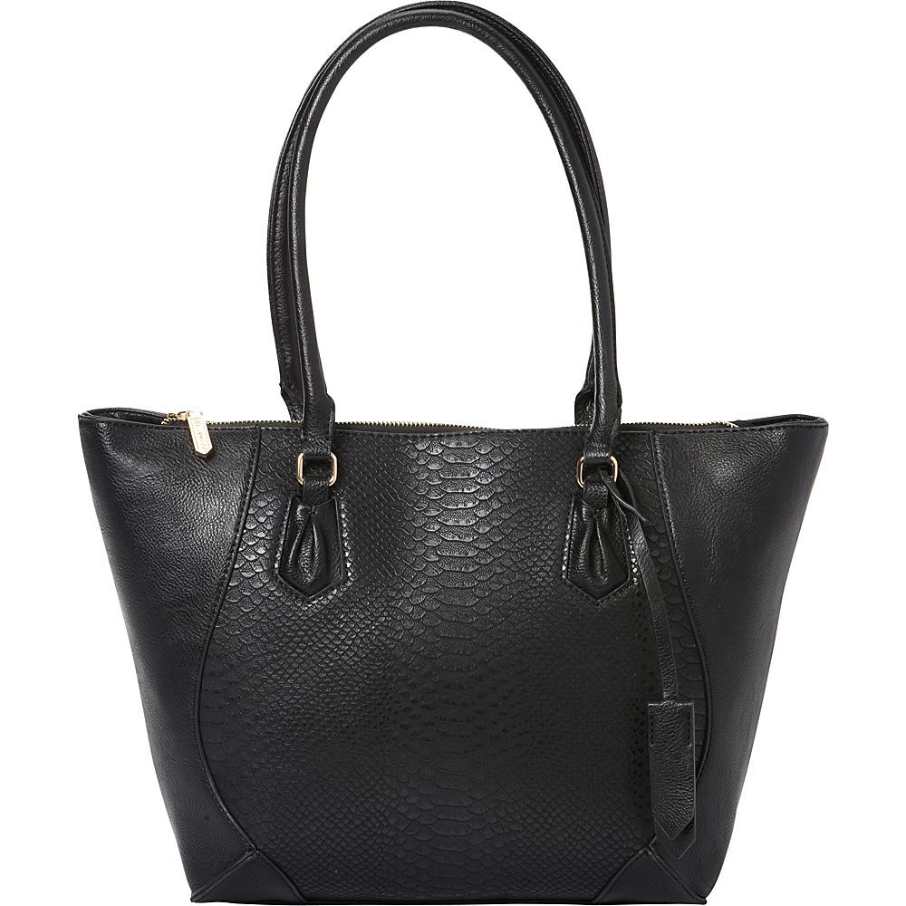 La Diva Sophia Two Tone Snake Tote Black Snake Black La Diva Manmade Handbags