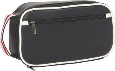 Ben Sherman Luggage Regent's Park Collection Bucket Style Zip Around Travel Kit Black / White - Ben Sherman Luggage Toiletry Kits