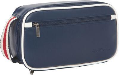 Ben Sherman Luggage Regent's Park Collection Bucket Style Zip Around Travel Kit Navy / White - Ben Sherman Luggage Toiletry Kits