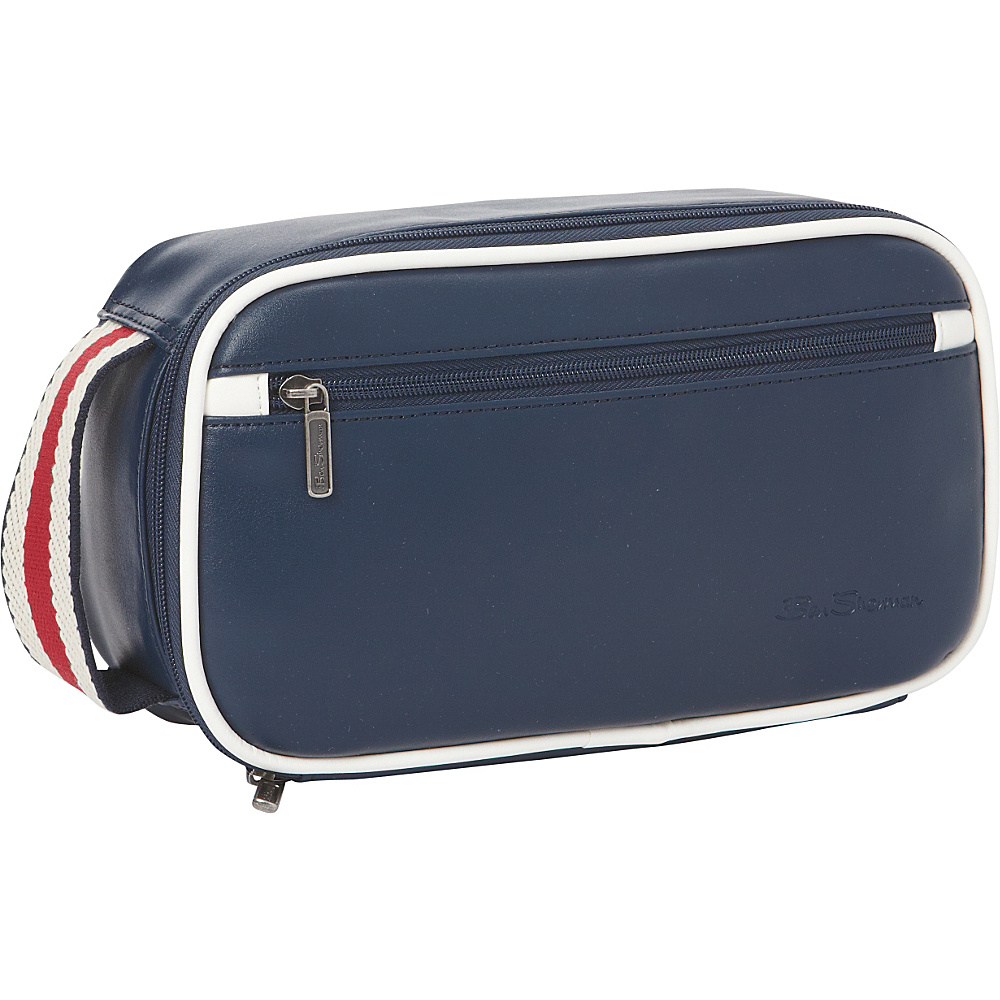 Ben Sherman Luggage Regent s Park Collection Bucket Style Zip Around Travel Kit Navy White Ben Sherman Luggage Toiletry Kits