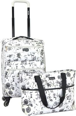 Kensie Luggage 2 PC Soft Side Carry-On w/ Tote White Flowers