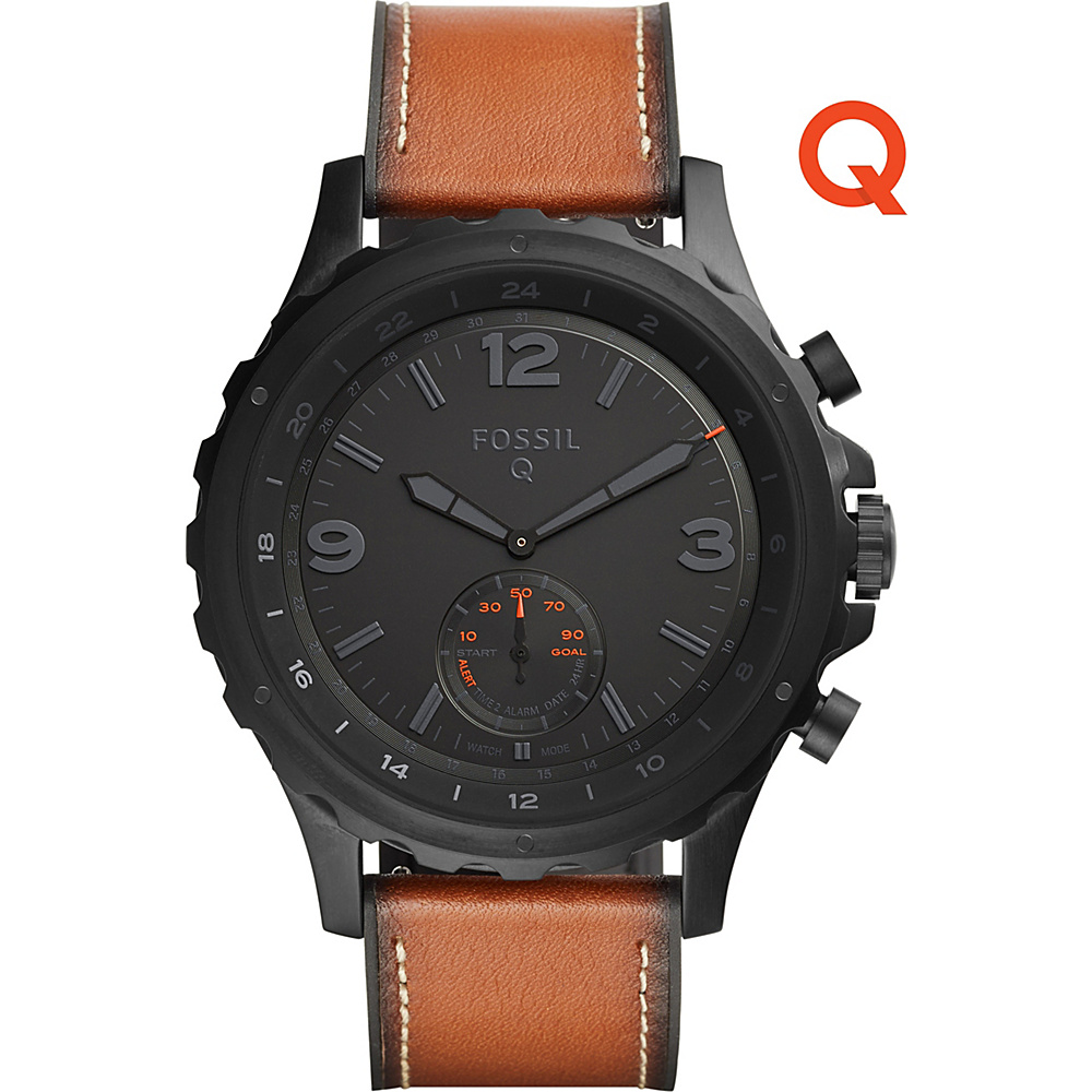 Fossil Q Nate Leather Hybrid Smartwatch Brown - Fossil Wearable Technology - Technology, Wearable Technology