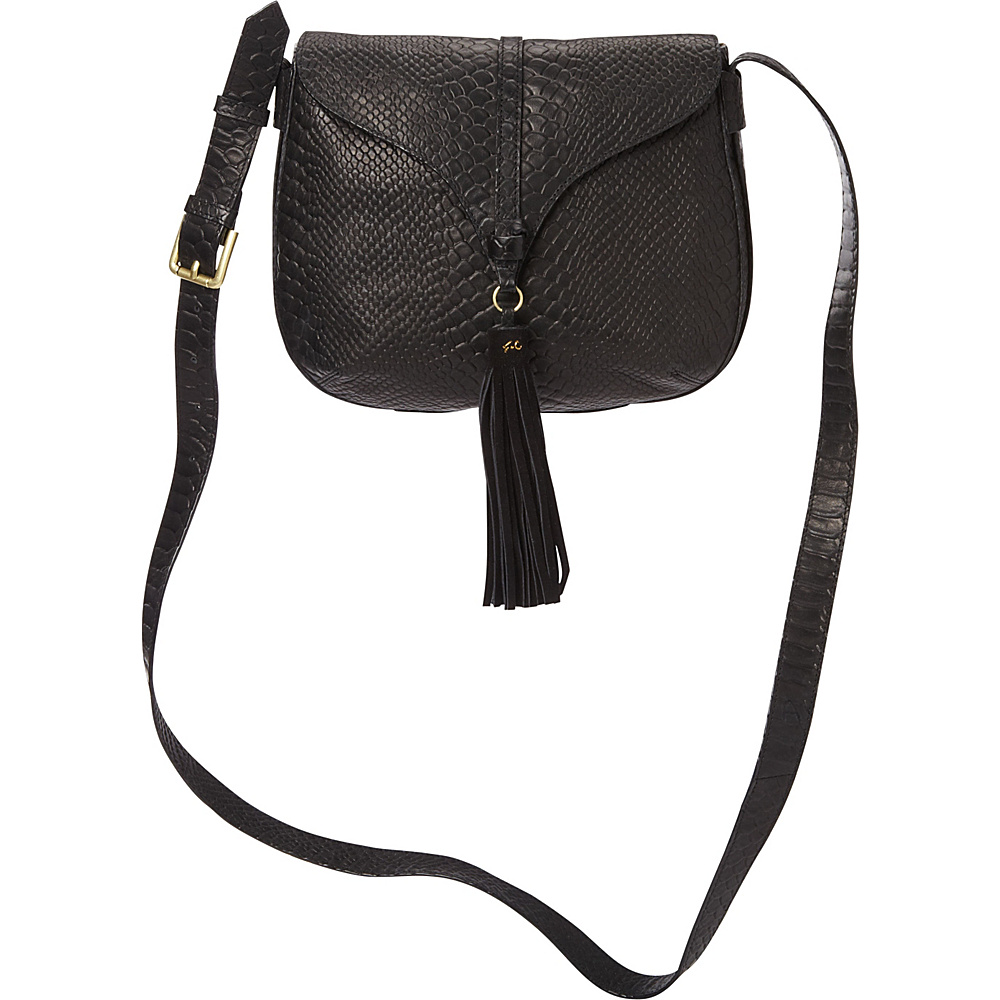 Foley Corinna Arrow Saddle Bag Embossed Snake Black Embossed Snake Foley Corinna Designer Handbags