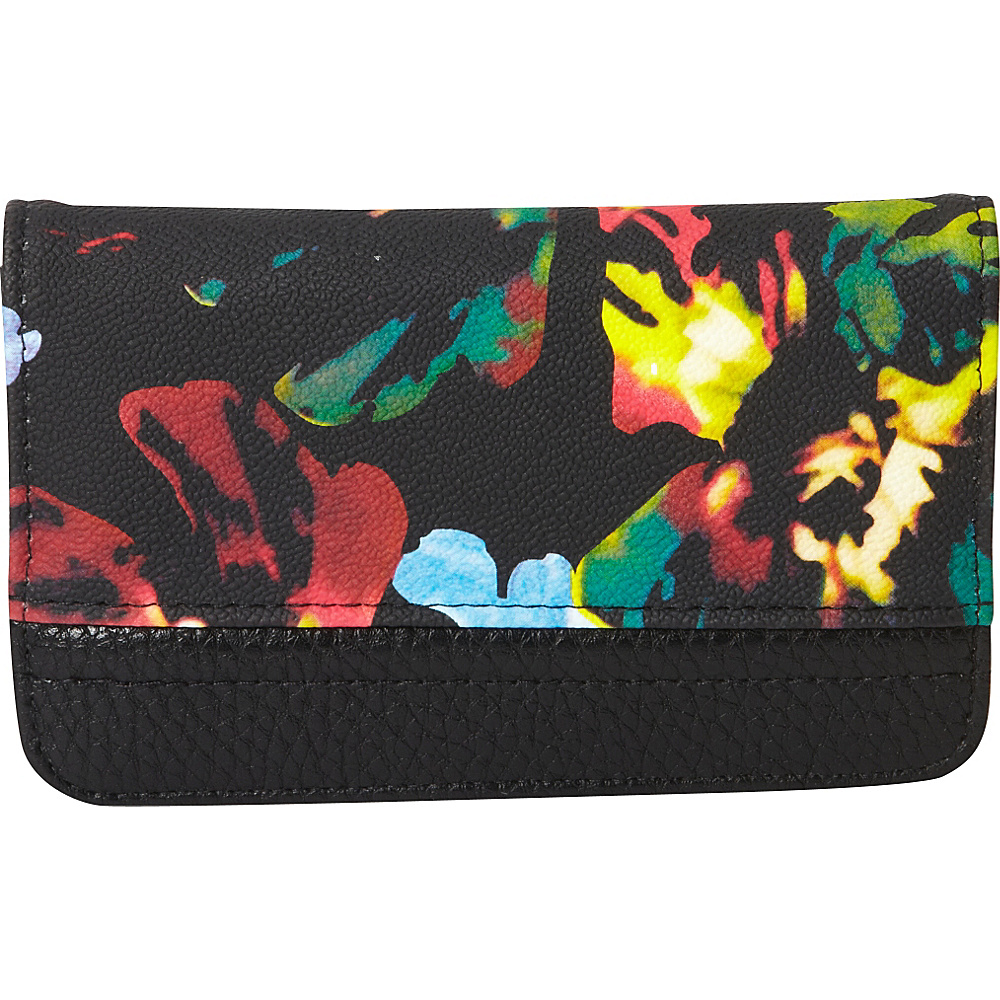 Buxton Abstract Floral Pik-Me-Up Snap Card Case Black - Buxton Womens Wallets - Women's SLG, Women's Wallets