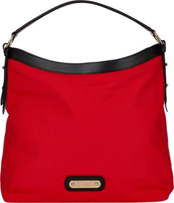 Davey's Hobo Red/Black Leather - Davey's Fabric Handbags