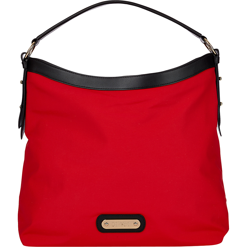 Davey s Hobo Red Black Leather Davey s Fabric Handbags
