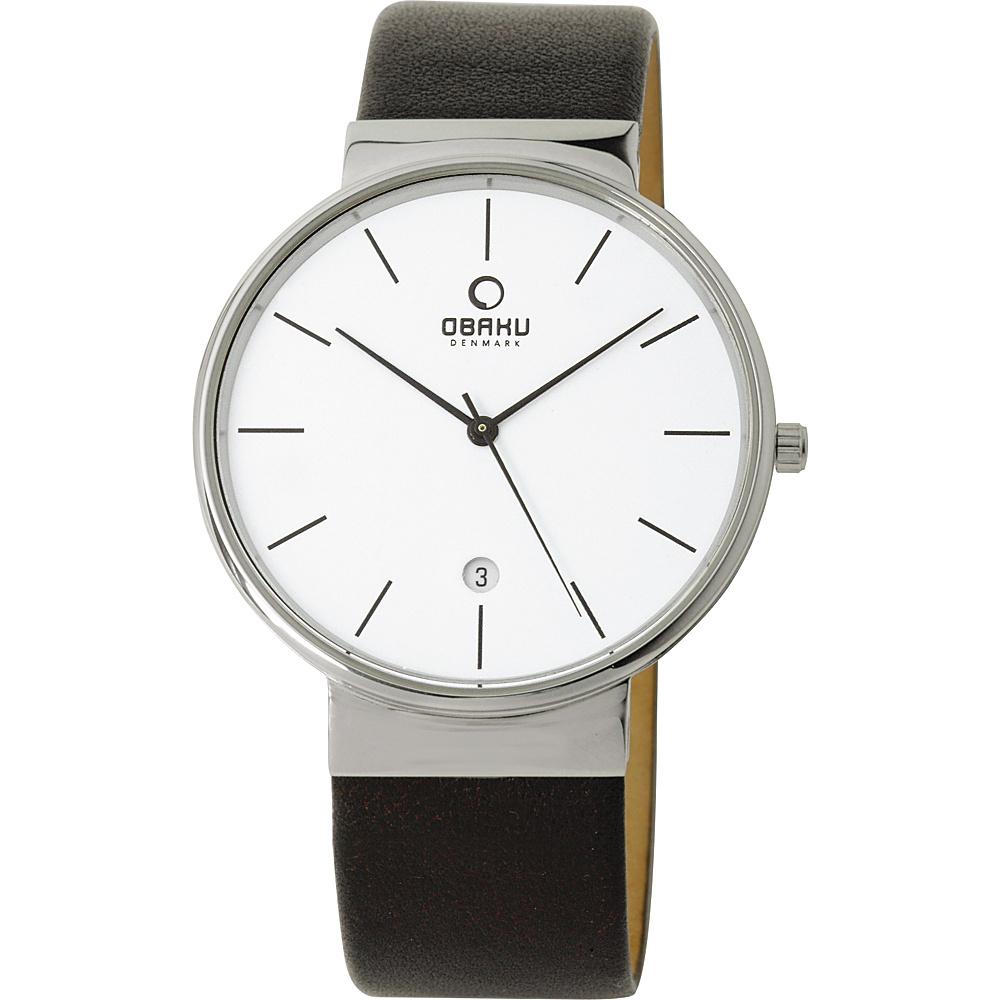 Obaku Watches Mens Leather Watch Black Silver Obaku Watches Watches