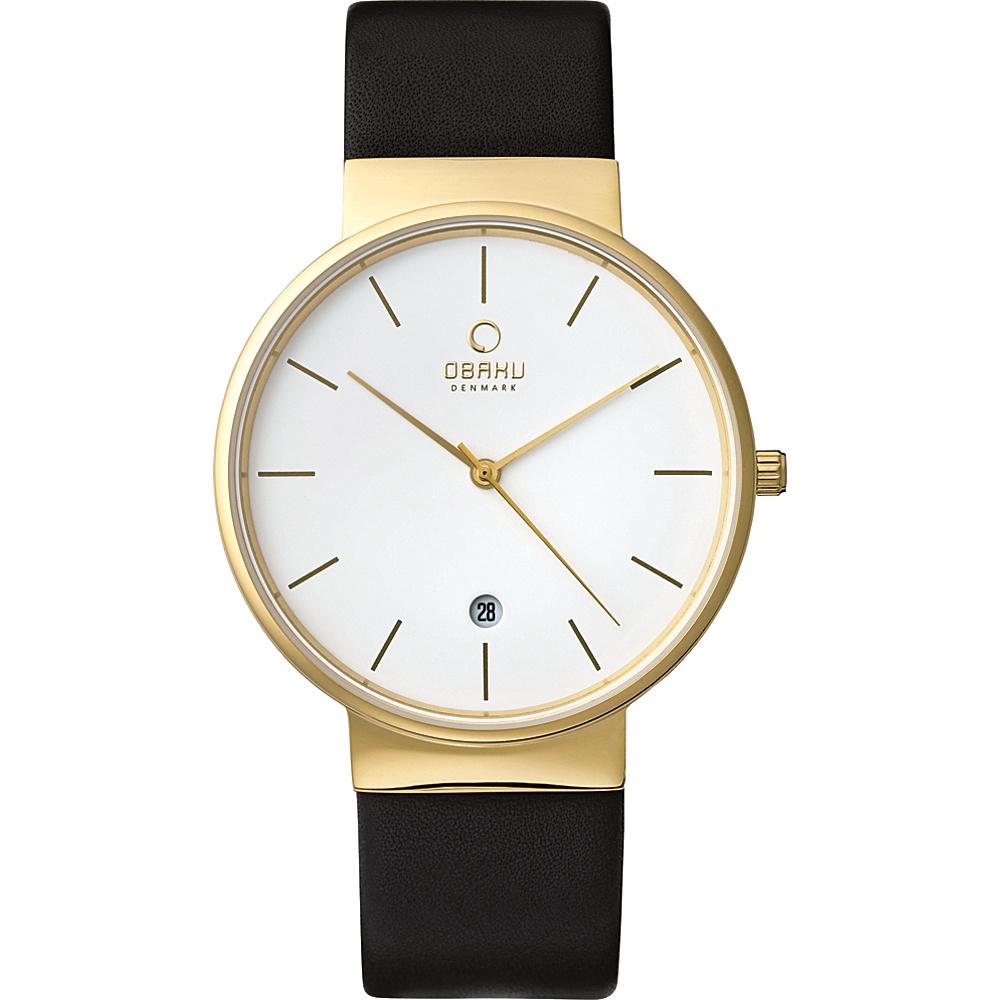 Obaku Watches Mens Leather Watch Black Gold Obaku Watches Watches