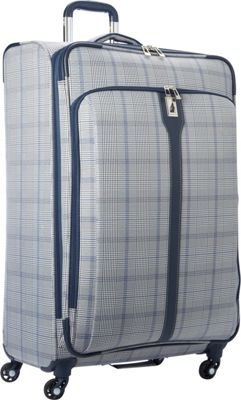 London Fog Knightsbridge Hyperlight 29 inch Expandable Spinner Grey/Navy Plaid - London Fog Softside Checked
