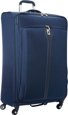 London Fog Knightsbridge Hyperlight 29 inch Expandable Spinner Navy - London Fog Softside Checked