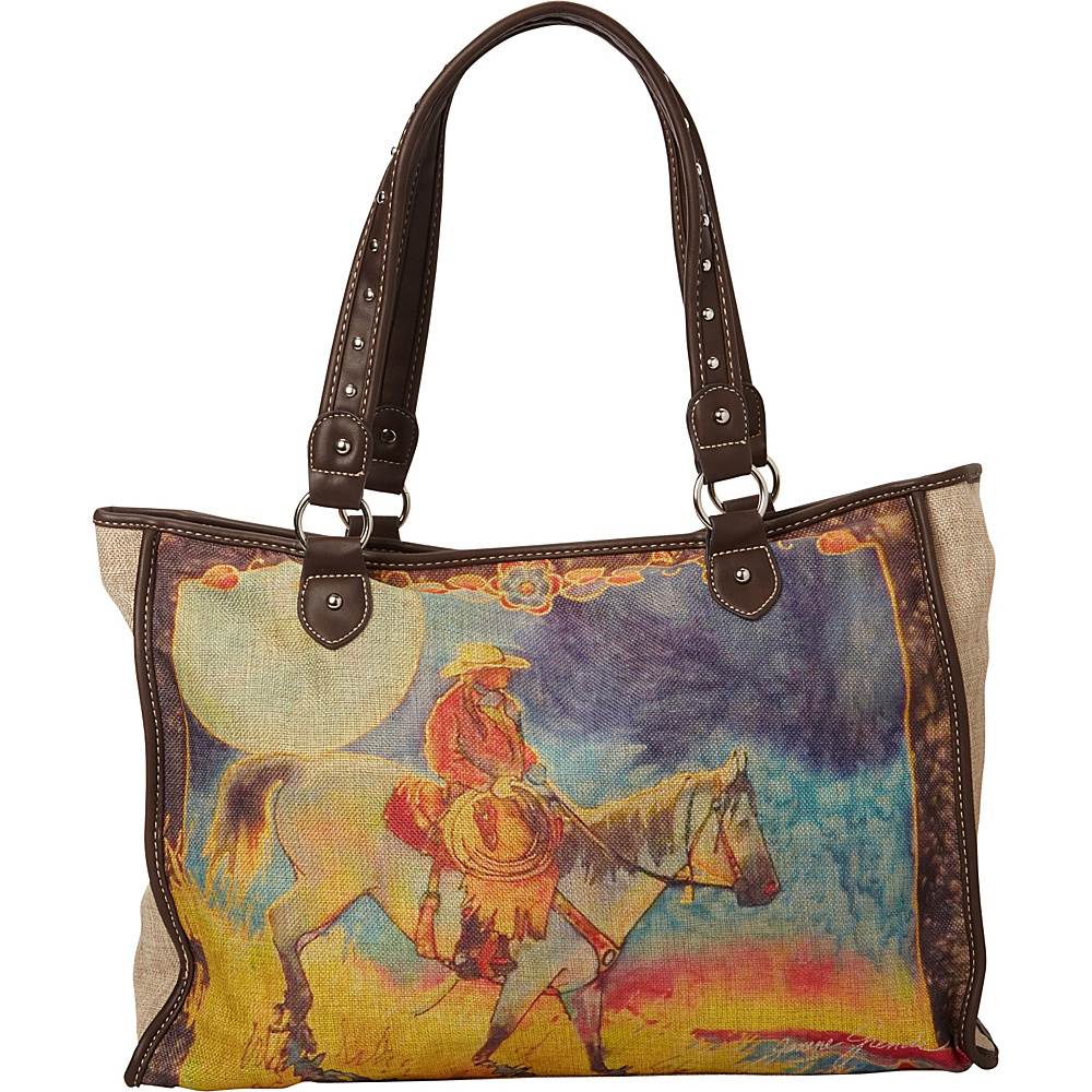 Montana West Janene Grende Horse Painting Tote Bag Coffee Montana West Fabric Handbags