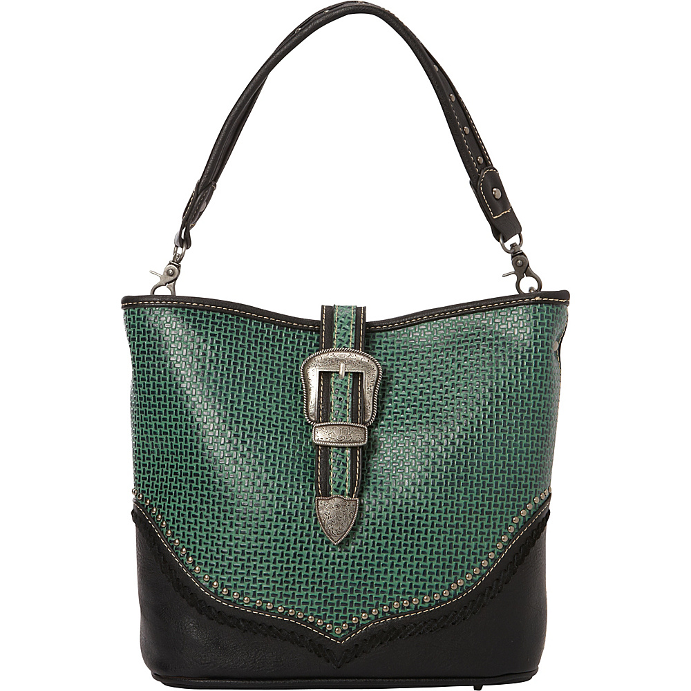 Montana West Basketweave Tooling Pattern Handbag Green Black Montana West Manmade Handbags