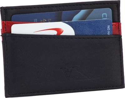 1Voice The Force RFID Blocking Leather Card Holder Black/Red - 1Voice Men's Wallets