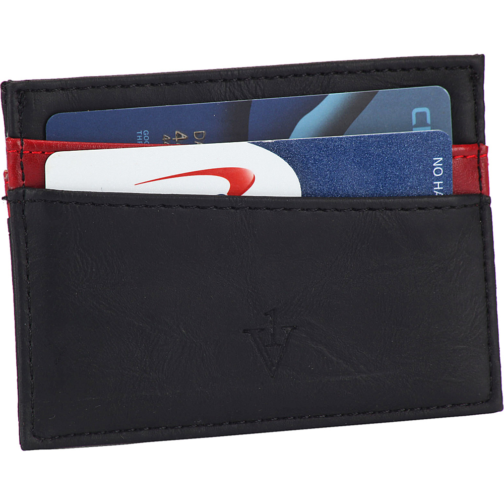 1Voice The Force RFID Blocking Leather Card Holder Black Red 1Voice Men s Wallets