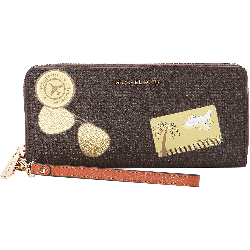 MICHAEL Michael Kors Illustrations Fly Away Travel Continental Wallet Brown Orange MICHAEL Michael Kors Women s Wallets