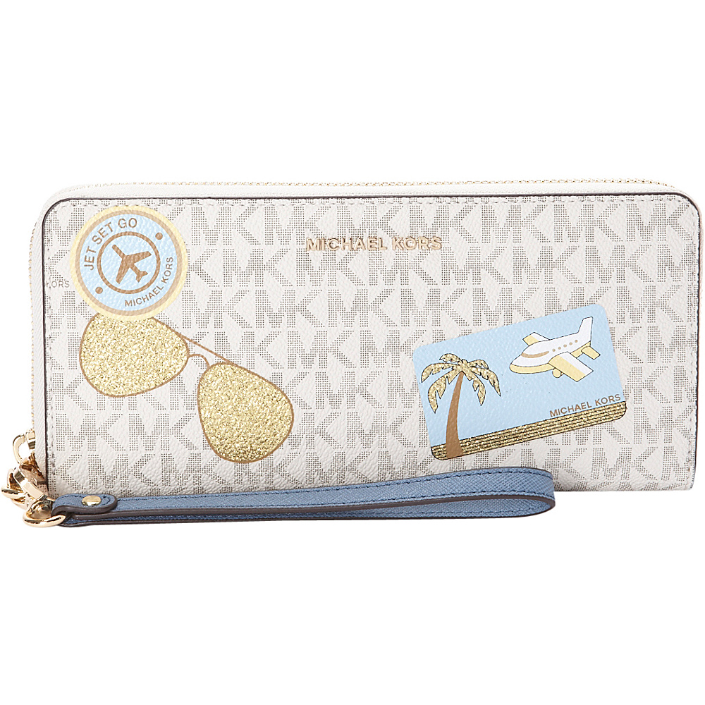 MICHAEL Michael Kors Illustrations Fly Away Travel Continental Wallet Van Denim MICHAEL Michael Kors Women s Wallets