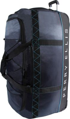 Perry Ellis Extra Large 35 inch Rolling Duffel Bag Navy/Blue - Perry Ellis Softside Checked