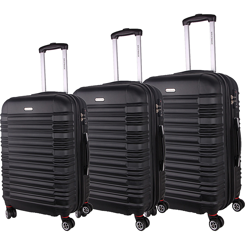 World Traveler California II 3-Piece Hardside Spinner Luggage Set Black - World Traveler Luggage Sets - Luggage, Luggage Sets
