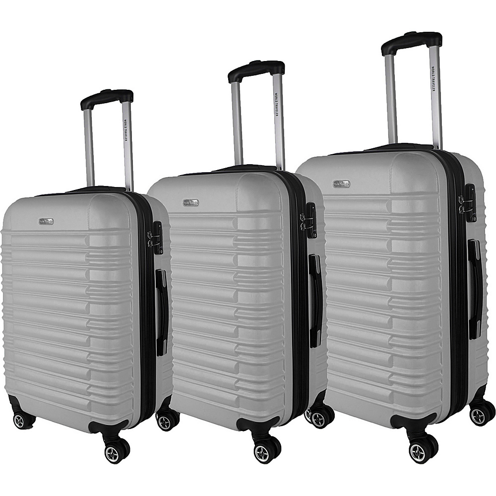 World Traveler California II 3-Piece Hardside Spinner Luggage Set Silver - World Traveler Luggage Sets - Luggage, Luggage Sets