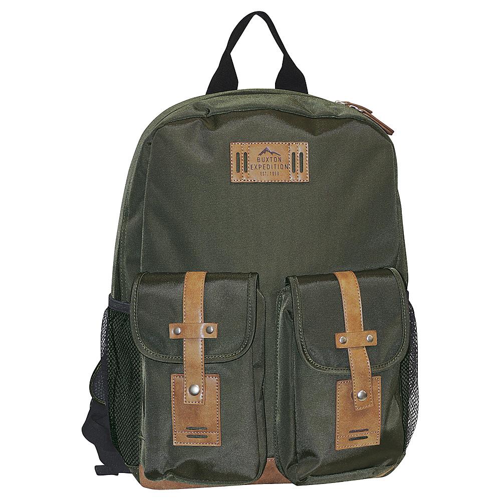 Buxton Expedition II Trekker Backpack Olive - Buxton Business & Laptop Backpacks - Backpacks, Business & Laptop Backpacks