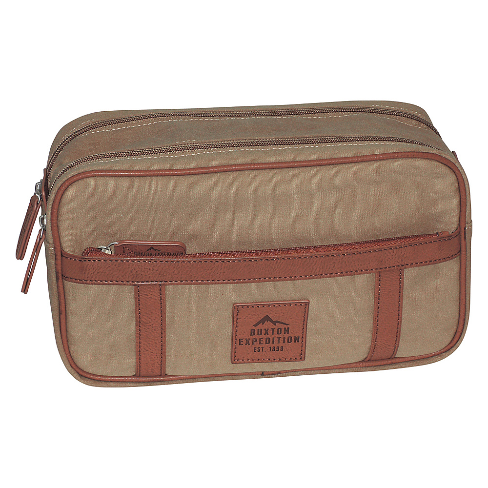 Buxton Expedition II Huntington Gear Double Zip Travel Kit Tan - Buxton Toiletry Kits - Travel Accessories, Toiletry Kits