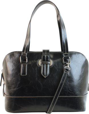 Emilie M Lara Dome Satchel Black - Emilie M Manmade Handbags