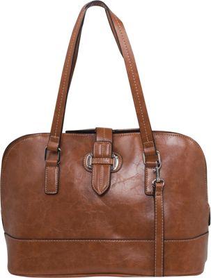 Emilie M Lara Dome Satchel Cognac - Emilie M Manmade Handbags