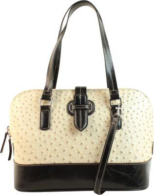 Emilie M Lara Dome Satchel Ecru/ Black - Emilie M Manmade Handbags