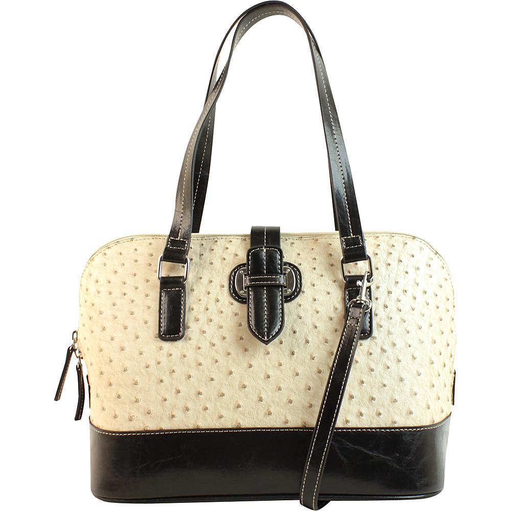 Emilie M Lara Dome Satchel Ecru Ostrich Black Emilie M Manmade Handbags