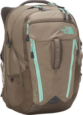 The North Face Women's Surge Laptop Backpack- Discontinued Colors Brindle Brown/Surf Green - The North Face Business & Laptop Backpacks