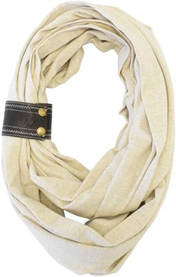 Itzy Ritzy Nursing Happens Infinity Breastfeeding Scarf with Genuine Leather Cuff Oatmeal with Chocolate Cuff - Itzy Ritzy Diaper Bags & Accessories