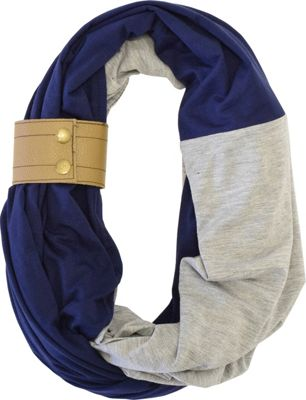 Itzy Ritzy Nursing Happens Infinity Breastfeeding Scarf with Genuine Leather Cuff Navy with Light Heather Gray and Oak Cuff - Itzy Ritzy Diaper Bags & Accessories 10517399