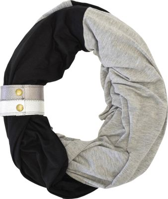 Itzy Ritzy Nursing Happens Infinity Breastfeeding Scarf with Genuine Leather Cuff Jet Smoke with Deep Heather Gray with Metallic Cuf - Itzy Ritzy Diaper Bags & Accessories