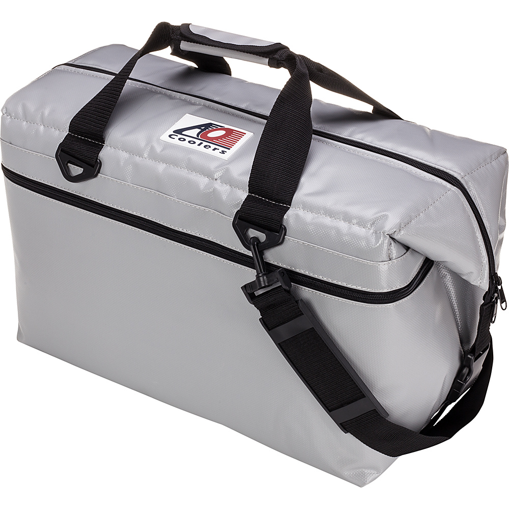 AO Coolers 36 Pack Vinyl Soft Cooler Silver AO Coolers Outdoor Coolers