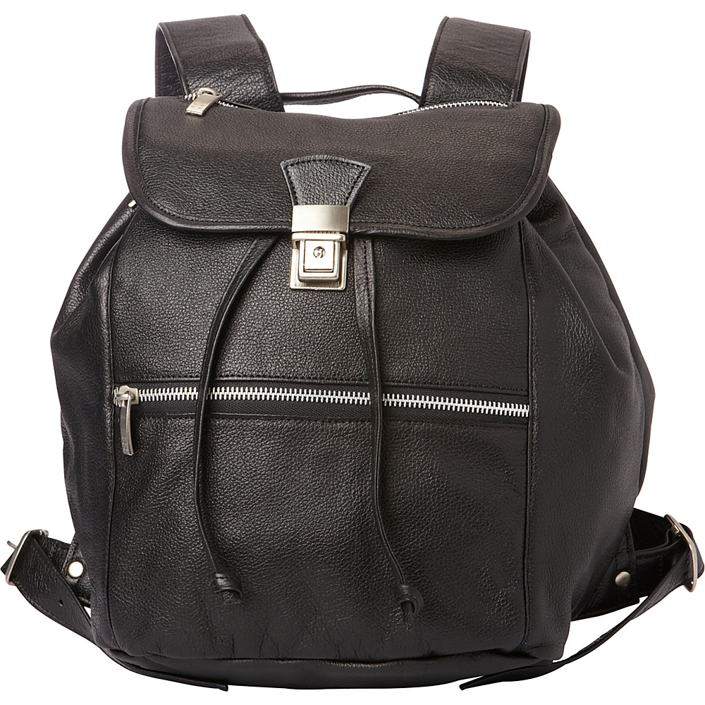 Piel Double Compartment Leather Backpack Black - Piel Leather Handbags - Handbags, Leather Handbags