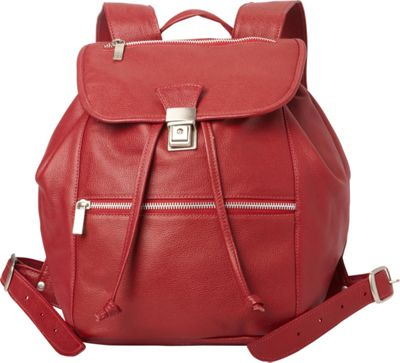 Piel Double Compartment Leather Backpack Red - Piel Leather Handbags