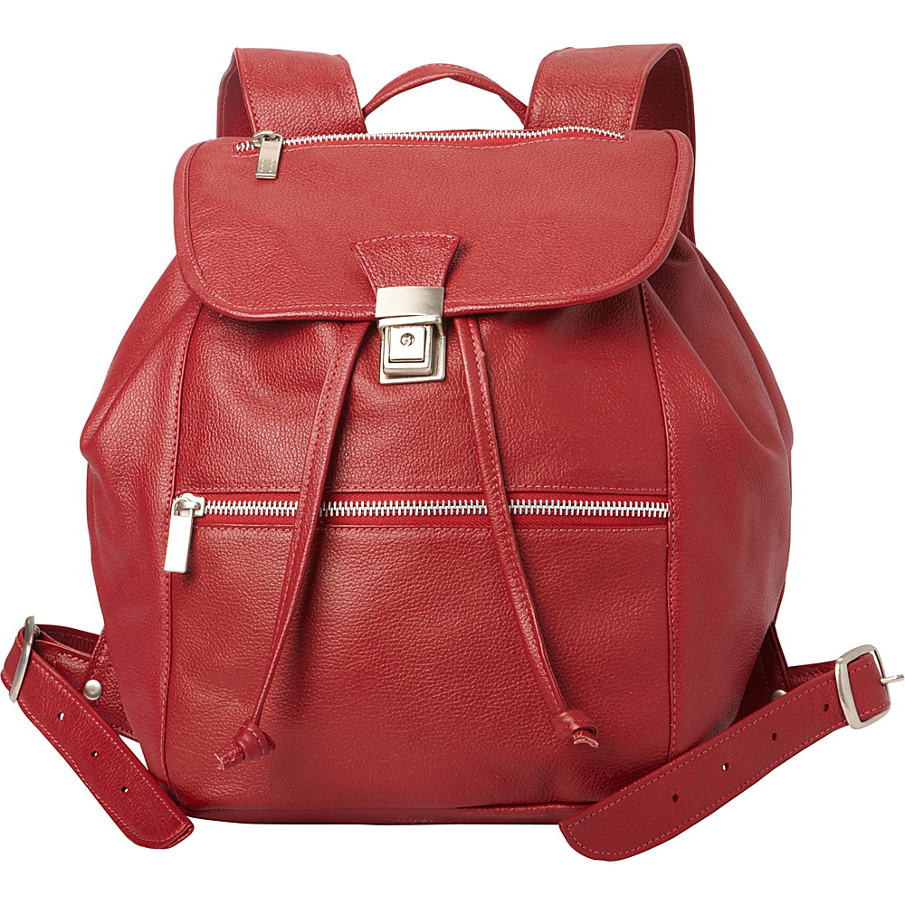Piel Double Compartment Leather Backpack Red - Piel Leather Handbags - Handbags, Leather Handbags