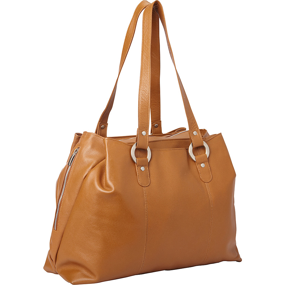 Piel Three Compartment Leather Tote Saddle - Piel Womens Business Bags - Work Bags & Briefcases, Women's Business Bags